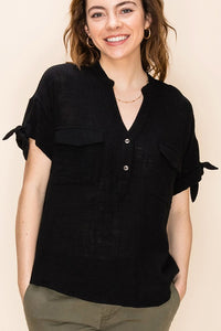 FL20F219 -4-Favlux-Mandarin collar short sleeve blouse-RK Collections Boutique