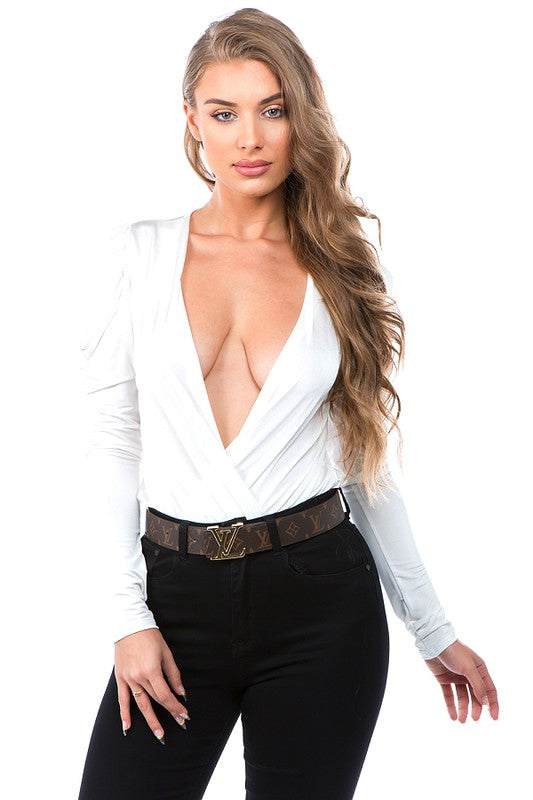 puff sleeve surplice bodysuit