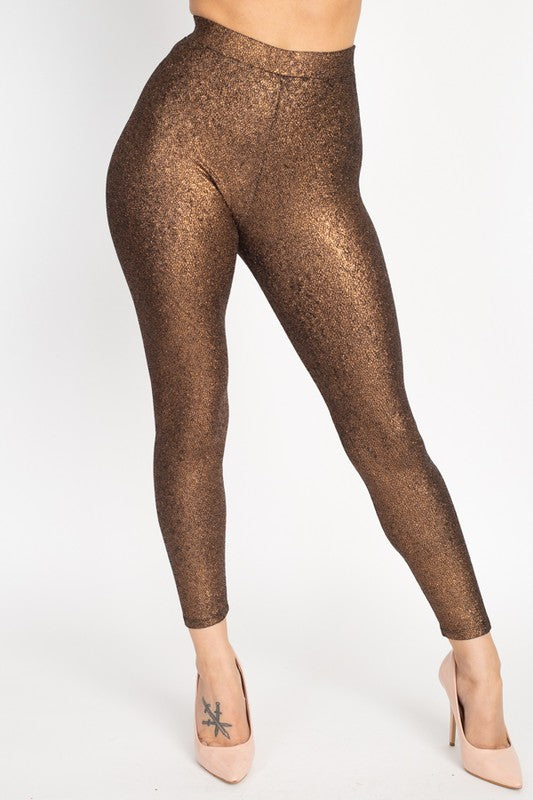 Metallic Glitter High Rise Leggings