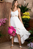 Front Tie Round Lace Hi Low Dress