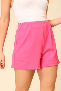 High waist elastic waist shorts