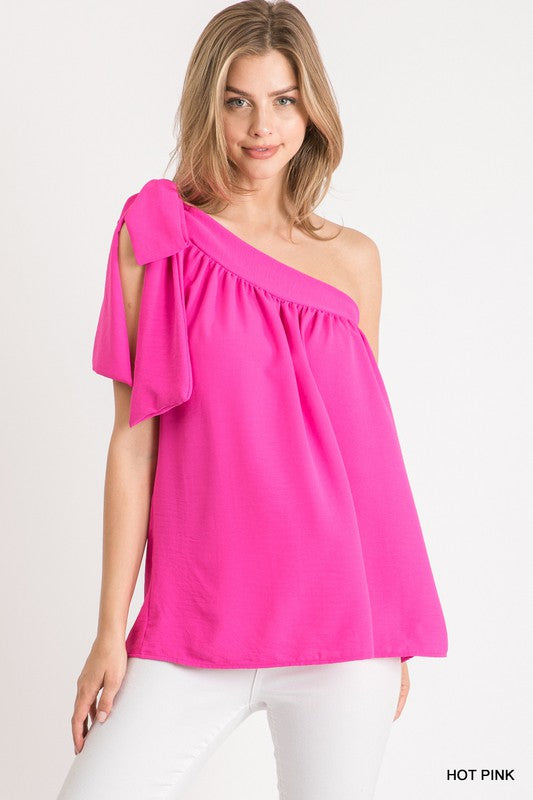 one shoulder top with tie shoulder