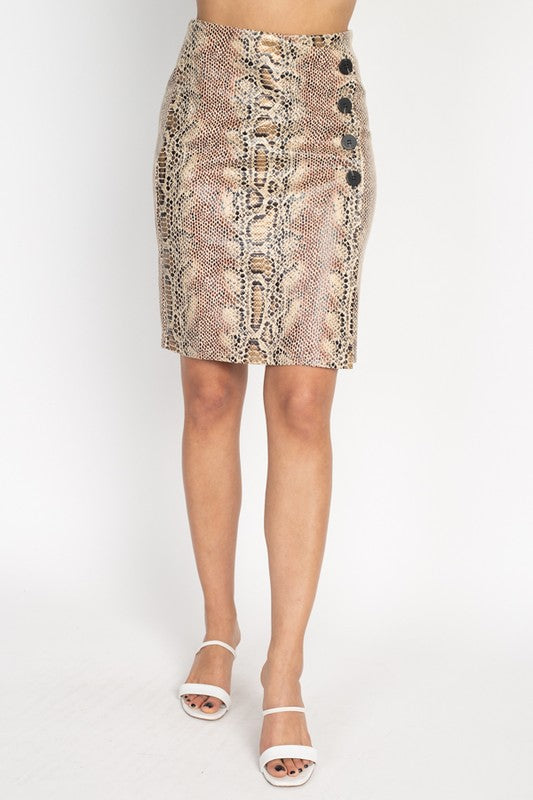 -Fashion USA-Snakeskin A-line Pencil Skirt-RK Collections Boutique