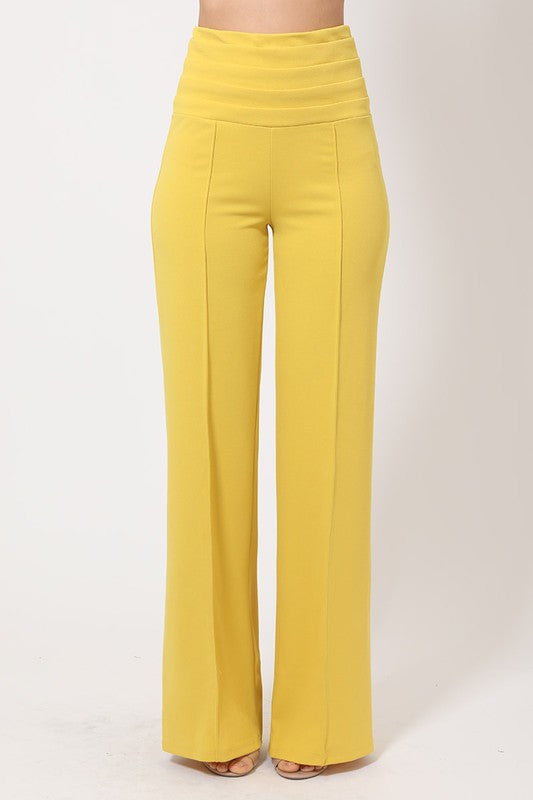 Tuxedo waist high rise stretch trousers