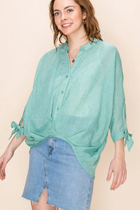 FL20H050-4-Favlux-Mandarin collar 3/4 sleeve blouse-RK Collections Boutique