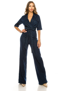 2153-1-La Reyna-high waist short sleeve denim jumpsuit-RK Collections Boutique