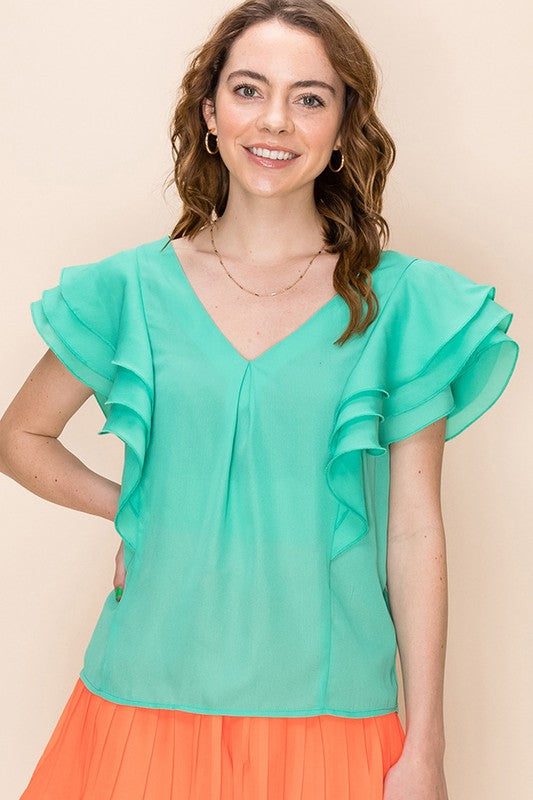 FL20F720-7-Favlux-V-neck ruffle sleeve blouse-RK Collections Boutique