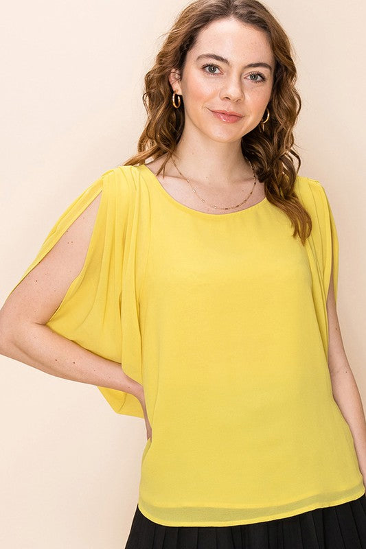 Gathered short sleeve blouse