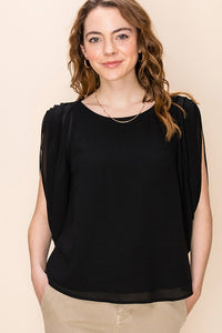 FL20G019-7-Favlux-Gathered short sleeve blouse-RK Collections Boutique