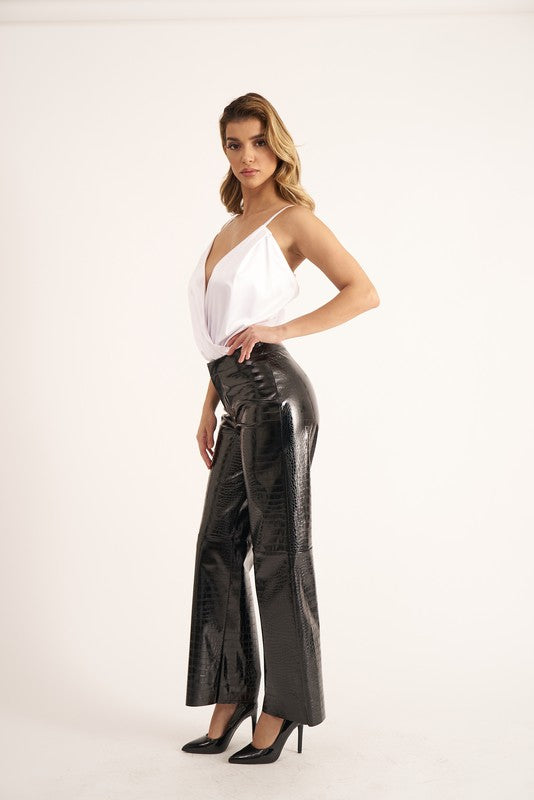 Patent leather crocodile embossed trousers