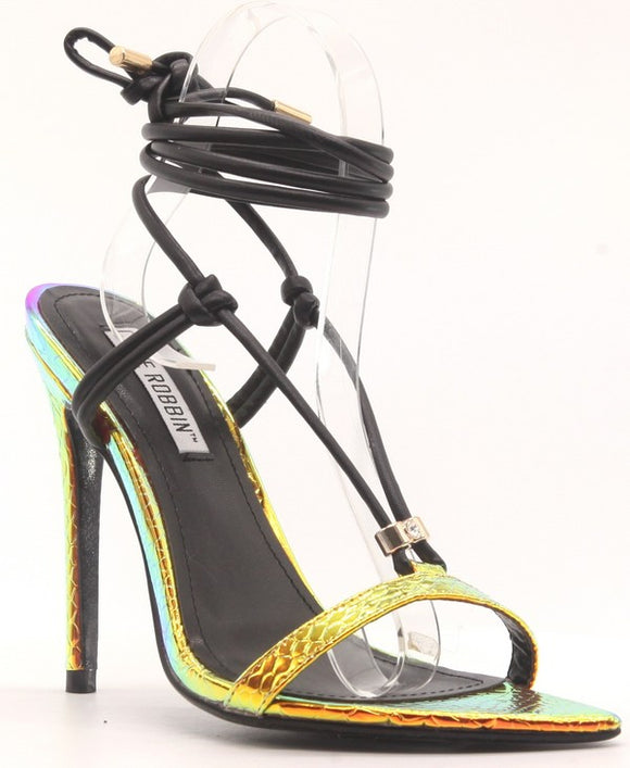 metallic snakeskin black leather lace up high heel sandal
