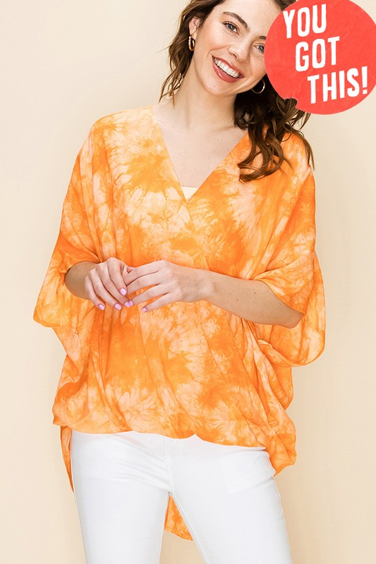 FL20F951-4-Favlux-Tie Dye cross over poncho blouse-RK Collections Boutique