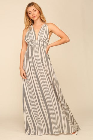 halter neck maxi striped dress