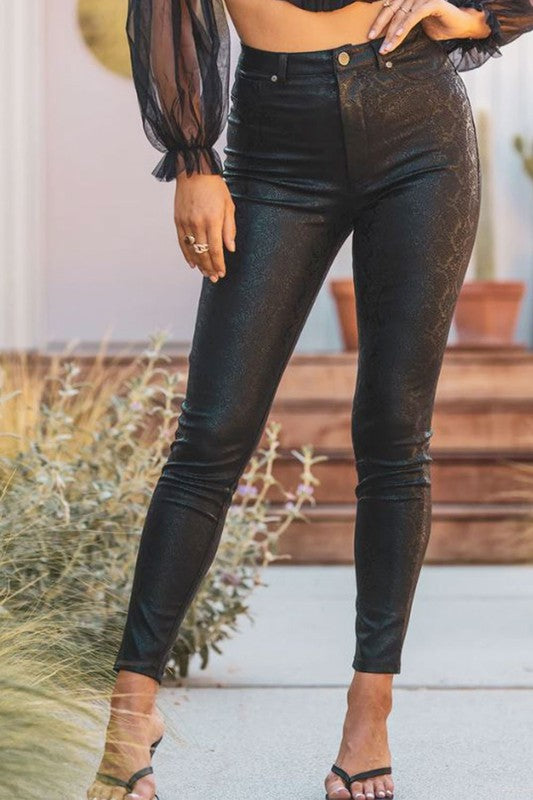 High waist snakeskin skinny pants