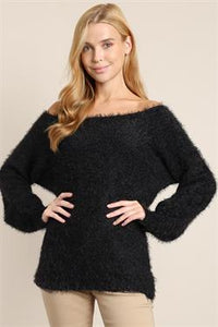 Fuzzy Long Sleeve Knit Sweater