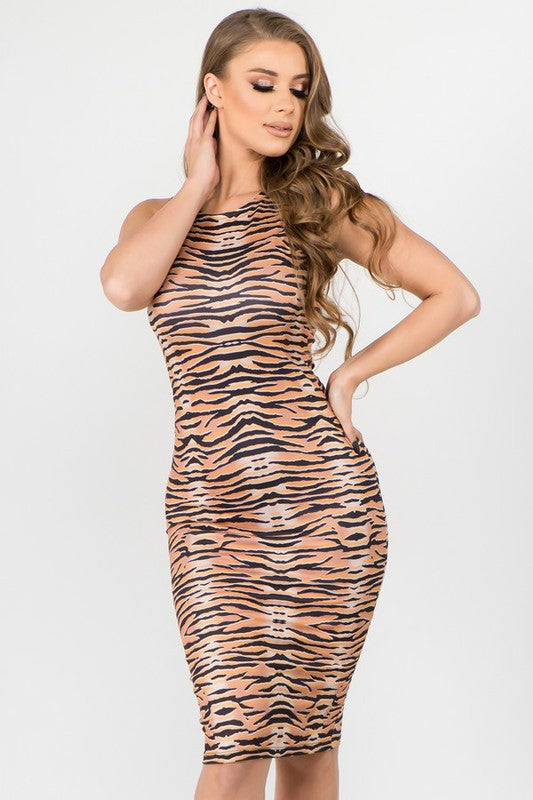 Crew Neck Tiger Print Bodycon Midi Dress