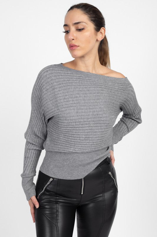 OSW32060-1-Fashion USA-One Shoulder Ribbed Sweater-RK Collections Boutique