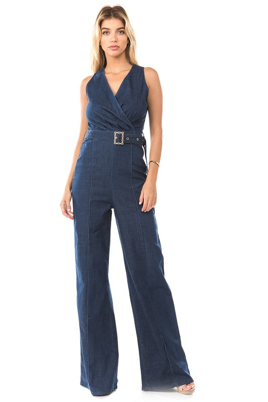 917-1-La Reyna-sleeveless high waist elastic denim jumpsuit-RK Collections Boutique