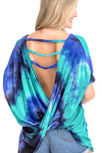 M3712-4-CY Fashion-Tie Dye Open Back Top-RK Collections Boutique