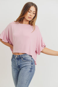T22382-7-Cherish USA-Ruffle Sleeves Round Neck Hi Lo Knit Top-RK Collections Boutique
