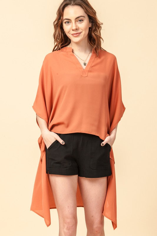 High low kimono sleeve blouse