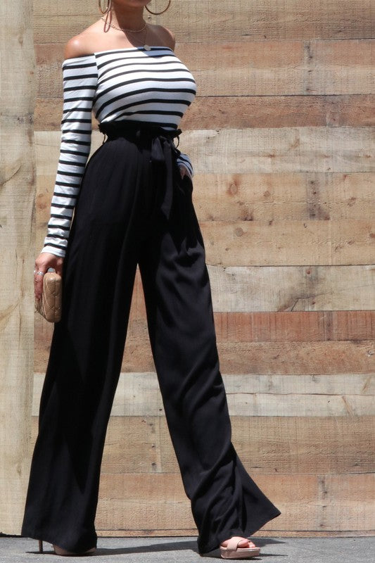 Stripe off the shoulder wide leg jumpsuit