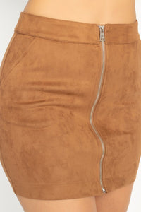 -Fashion USA-Faux Suede Front Zip Mini Skirt-RK Collections Boutique