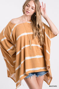 Striped Tie-Dye Poncho Top