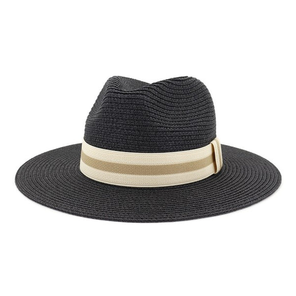 stripe band straw Panama hat