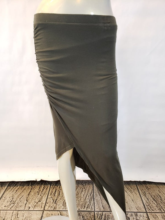 Jersey side ruched asymmetrical skirt