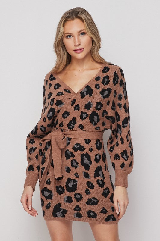 Leopard Print Dolman Sweater Dress