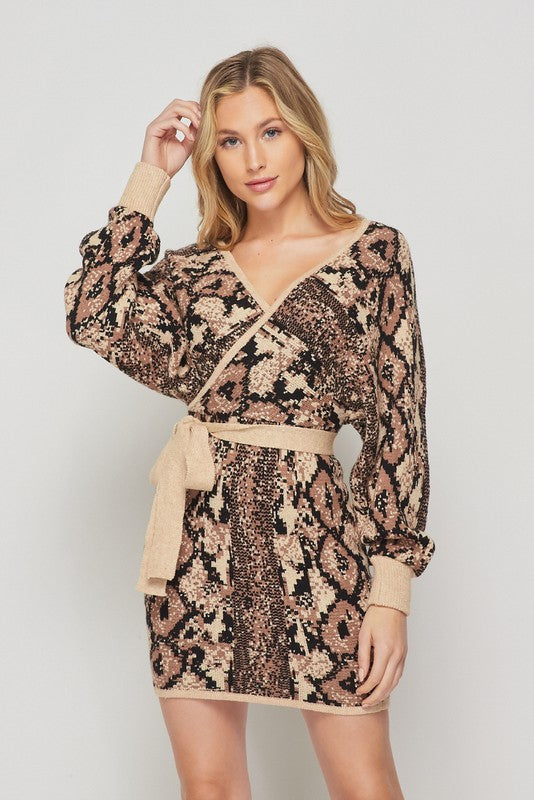 Snakeskin Print Dolman Sweater Dress