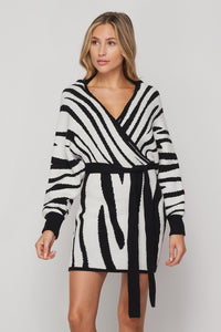 Zebra Print Dolman Sweater Dress