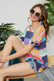 -Adore-Multi colored stripe cold shoulder top-RK Collections Boutique