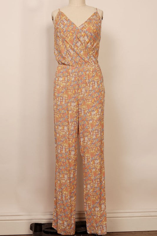 sleeveless surplice printed wide leg jumpsuit