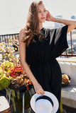 One shoulder wide sleeve wide leg jumpsuit