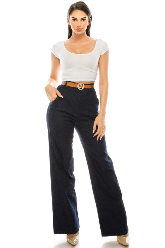 -La Reyna-High waist denim wide leg trousers-RK Collections Boutique