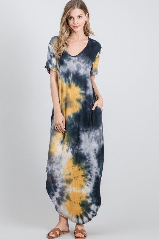 MD3795-4-CY Fashion-Tie Dye Maxi Dress-RK Collections Boutique