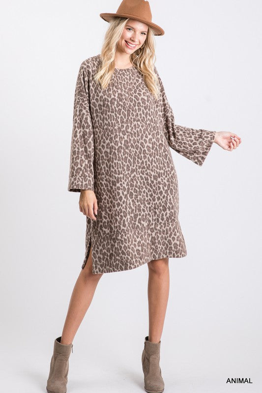 Brush Leopard Print Midi Dress