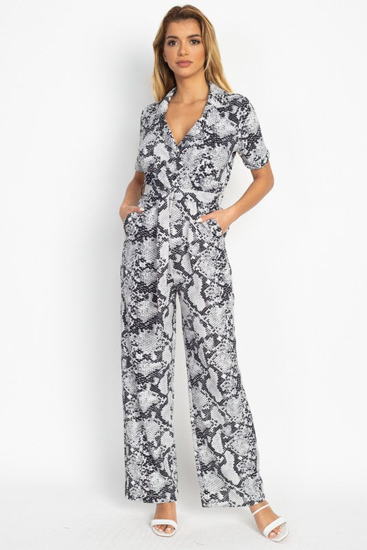 OP23803-1-Fashion USA-Short Sleeve Snakeskin Belted Jumpsuit-RK Collections Boutique