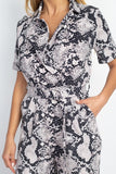-Fashion USA-Short Sleeve Snakeskin Belted Jumpsuit-RK Collections Boutique