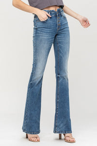 High waist exposed button flare jeans