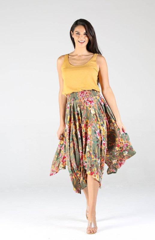 E6E19FO01-1-Nostalgia-floral print handkerchief hem skirt-RK Collections Boutique