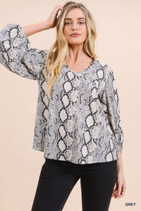 Snake Print Top with Draped Bubble Sleeves