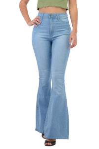 BC003-S-Denim Zone-High Waisted bell bottom jeans-RK Collections Boutique