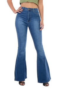 BC004-S-Denim Zone-High Waisted bell bottom jeans-RK Collections Boutique