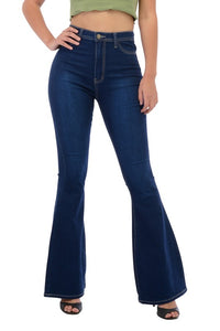 BC005-S-Denim Zone-High Waisted bell bottom jeans-RK Collections Boutique