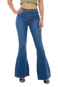 BC006-S-Denim Zone-High Waisted bell bottom jeans with exposed buttons-RK Collections Boutique