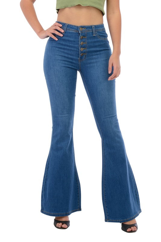 High Waisted bell bottom jeans with exposed buttons