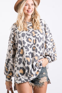 Brushed leopard soft long sleeve top